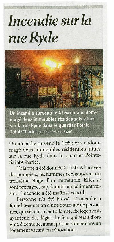 Fire Pointe Saint-Charles