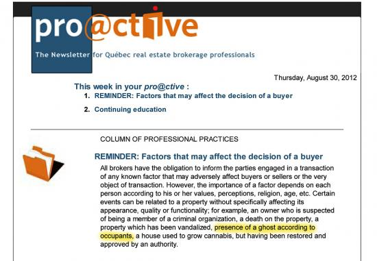 Pro@ctive Newsletter from the OACIQ, August 30, 2012