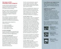 Les taxes municipales Montreal 2012 - 1